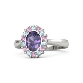 Oval Iolite Palladium Ring with Aquamarine and Pink Sapphire