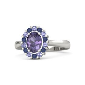 Oval Iolite Palladium Ring with Iolite and Blue Sapphire
