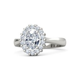Oval Diamond Platinum Ring with Diamond