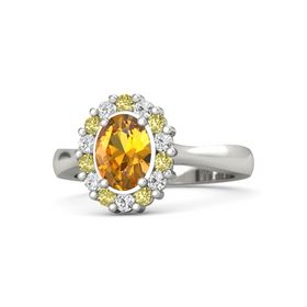 Oval Citrine Platinum Ring with Yellow Sapphire and White Sapphire