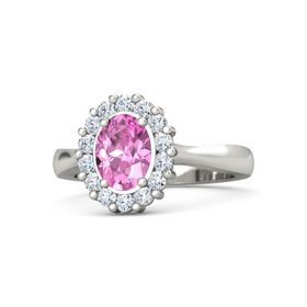 Oval Pink Sapphire Platinum Ring with Diamond