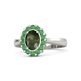 Oval Green Tourmaline Platinum Ring with Emerald