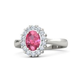Oval Pink Tourmaline Platinum Ring with Diamond