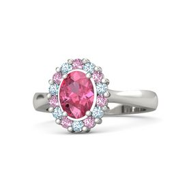 Oval Pink Tourmaline Platinum Ring with Pink Sapphire and Aquamarine