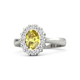 Oval Yellow Sapphire Platinum Ring with White Sapphire