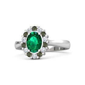 Oval Emerald Sterling Silver Ring with Green Tourmaline and Diamond