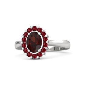 Oval Red Garnet Sterling Silver Ring with Ruby