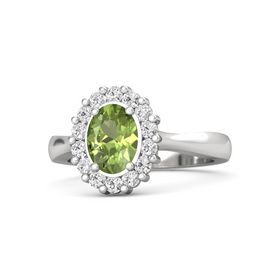 Oval Peridot Sterling Silver Ring with White Sapphire