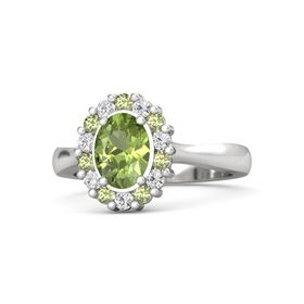 Oval Peridot Sterling Silver Ring with Peridot and White Sapphire