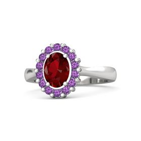 Oval Ruby Sterling Silver Ring with Amethyst