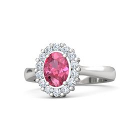 Oval Pink Tourmaline Sterling Silver Ring with Diamond