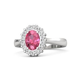 Oval Pink Tourmaline Sterling Silver Ring with White Sapphire