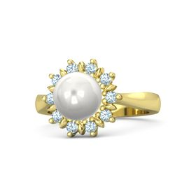 Sphere White Cultured Pearl 14K Yellow Gold Ring with Aquamarine