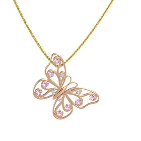 14K Rose Gold Pendant with Diamond and Pink Sapphire