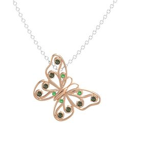 14K Rose Gold Pendant with Emerald and Green Tourmaline