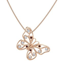 14K Rose Gold Necklace with Red Garnet & Diamond
