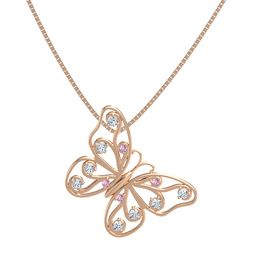 14K Rose Gold Pendant with Pink Sapphire and Diamond