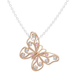 14K Rose Gold Pendant with Pink Tourmaline and Diamond