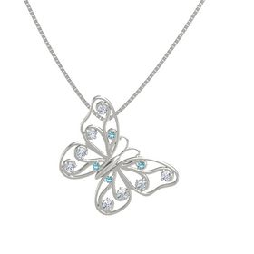 14K White Gold Pendant with London Blue Topaz and Diamond