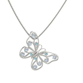 14K White Gold Pendant with London Blue Topaz and Blue Topaz