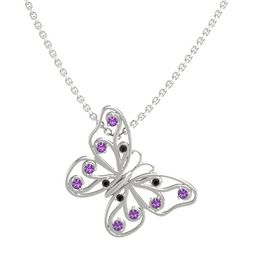 14K White Gold Pendant with Black Diamond and Amethyst