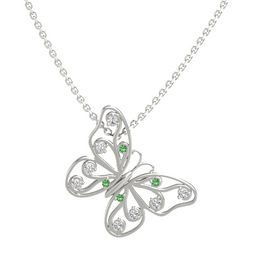 14K White Gold Pendant with Emerald and White Sapphire