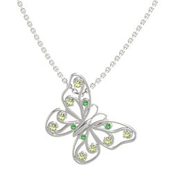 14K White Gold Pendant with Emerald and Peridot