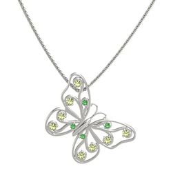 14K White Gold Necklace with Emerald & Peridot