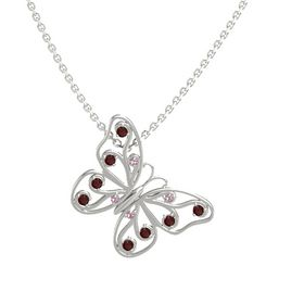 14K White Gold Pendant with Rhodolite Garnet and Red Garnet