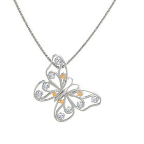 14K White Gold Necklace with Citrine & Diamond