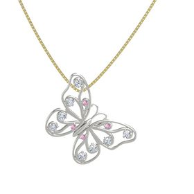 14K White Gold Pendant with Pink Sapphire and Diamond