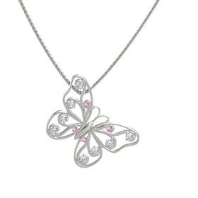 14K White Gold Necklace with Pink Sapphire & Diamond