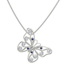 14K White Gold Pendant with Blue Sapphire and Diamond