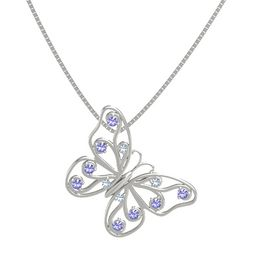 14K White Gold Pendant with Blue Topaz and Iolite