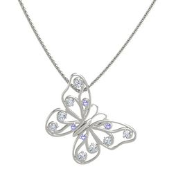 14K White Gold Necklace with Iolite & Diamond