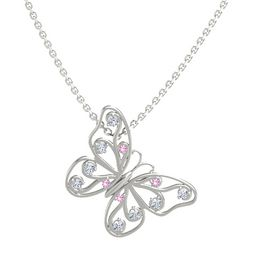 14K White Gold Pendant with Pink Tourmaline and Diamond