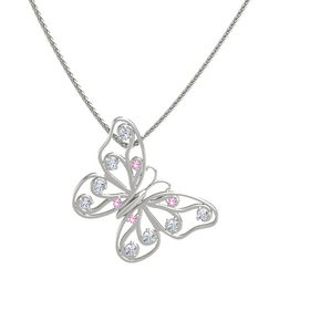 14K White Gold Necklace with Pink Tourmaline & Diamond
