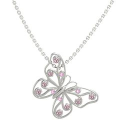 14K White Gold Pendant with Pink Tourmaline and Rhodolite Garnet