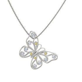 14K White Gold Necklace with Yellow Sapphire & Diamond
