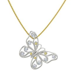 14K White Gold Pendant with Yellow Sapphire and Diamond