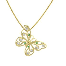 14K Yellow Gold Necklace with Emerald & White Sapphire