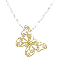 14K Yellow Gold Necklace with White Sapphire & Pink Sapphire
