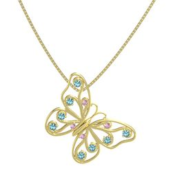 14K Yellow Gold Pendant with Pink Sapphire and London Blue Topaz