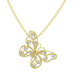 14K Yellow Gold Necklace with Iolite & Diamond