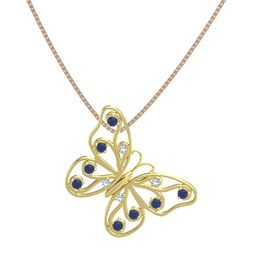 18K Yellow Gold Pendant with Blue Topaz and Blue Sapphire