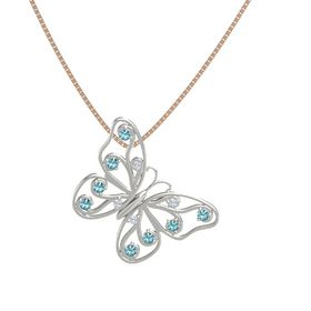 Platinum Pendant with Diamond and London Blue Topaz