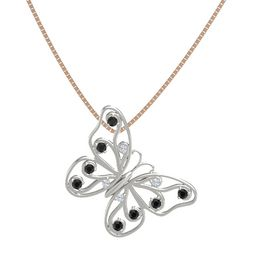 Platinum Pendant with Diamond and Black Diamond