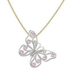 Platinum Pendant with Diamond and Pink Sapphire