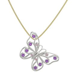 Platinum Pendant with Rhodolite Garnet and Amethyst