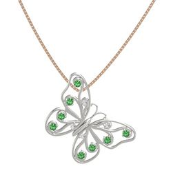 Platinum Pendant with White Sapphire and Emerald